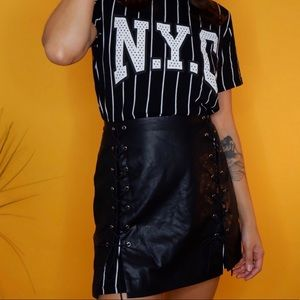 Faux Leather Tie-Up Skirt